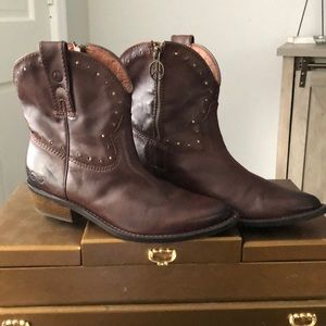 LUCKY BRAND Brown Leather Cowboy Boots Size 7M